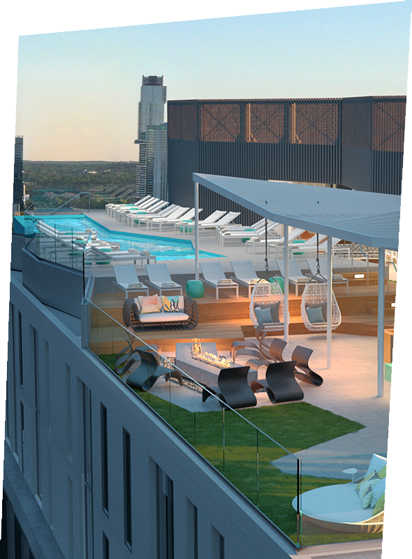 rooftop, tables, chairs